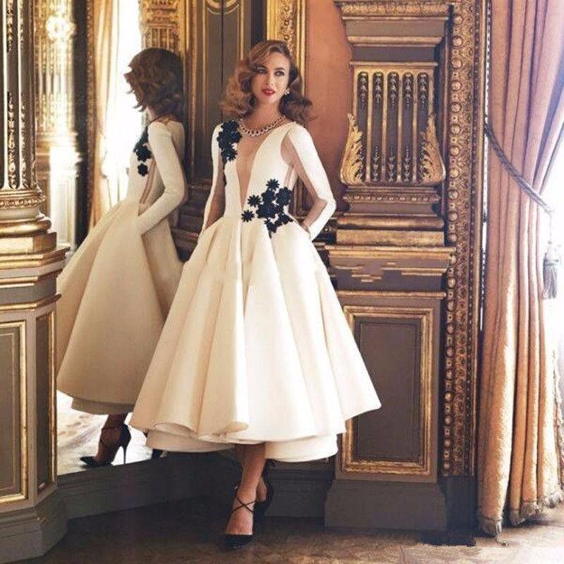 2019 Couture Elfenbein Kurze Ballkleider Schwarz Applique Knöchellangen Falten Sexy Durchsichtige Tüll Langarm Formelle Abendgesellschaft Kleider P118