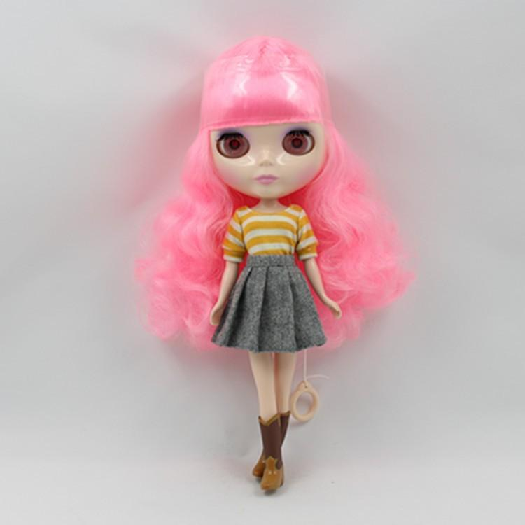 Fortune Days Nude Factory Blyth doll No.BL1215 Pink curly hair suitable for change toy white skin Neo