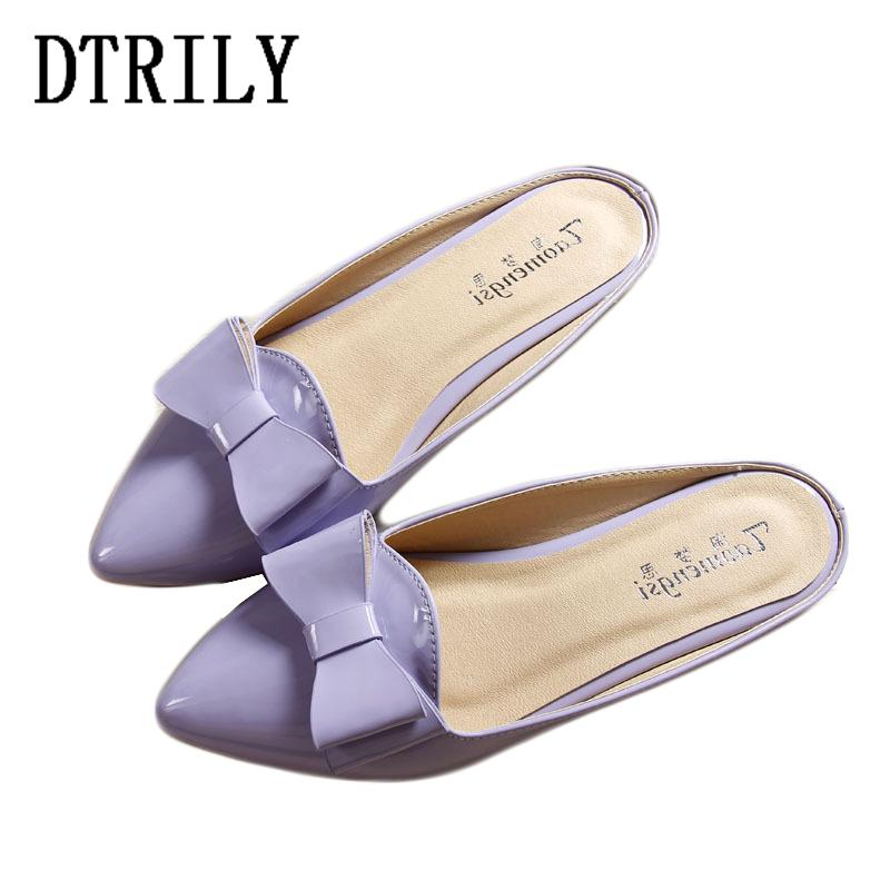 137a07390 Shoes Woman Butterfly Knot Mules Patent Leather Flats Slippers ...