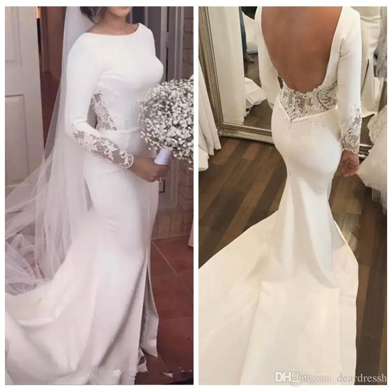 Retro 2019 Long Sleeves Wedding Dresses Slim Lace Sweep Train Lace