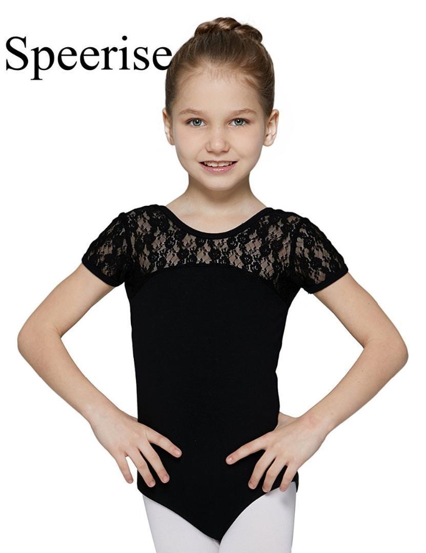 53d02915966c 2019 Speerise Lycra Short Sleeve Lace Bodysuit Kids Girls Dance ...