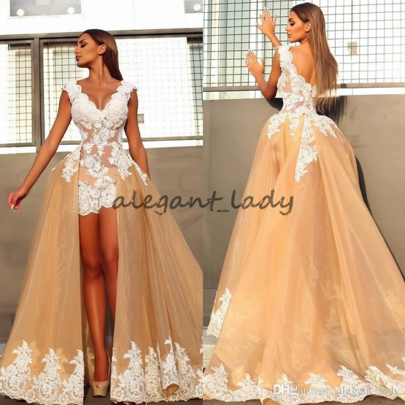 Champagne White Short Wedding Dresses with Long Detachable Train 2018 Mdest V-neck Cap Sleeve Holiday Beach Bridal Wedding Party Gown