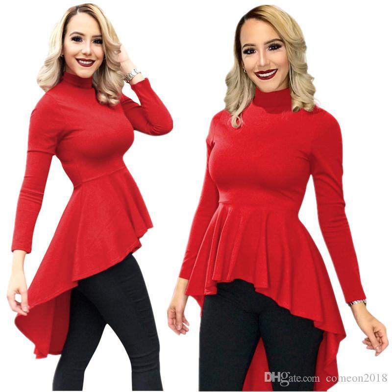 c93573559e1 Designer Women Clothes Women Bodycon Dress Stand Neck Maxi Ruffles Mermaid  Tee Tops Classic T-shirts S-2XL Plus Size Long Sleeve Dress A812 Bodycon  Dresses ...