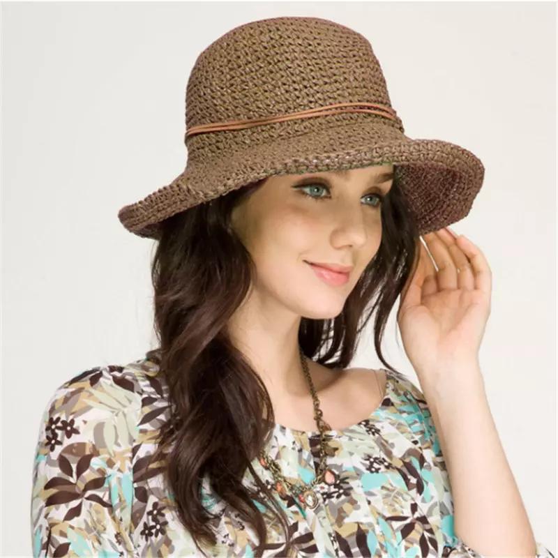 caa4c00ab77 Fashion Women Raffia Grass Straw Sun Hat Elegant Lady Dome Bucket ...
