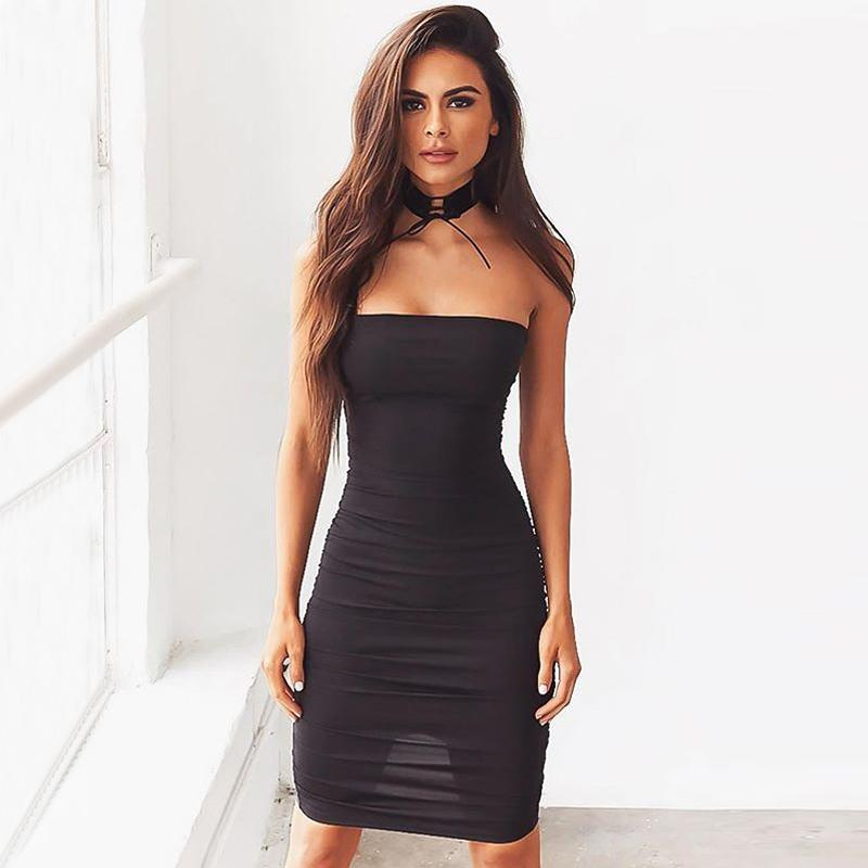 462d557990e3 Sexy Women Off Shoulder Dress Sleeveless Mini Bodycon Dress Slash Neck  Strapless Basic Party Slim Dress Black Summer Clubwear Online with   36.44 Piece on ...
