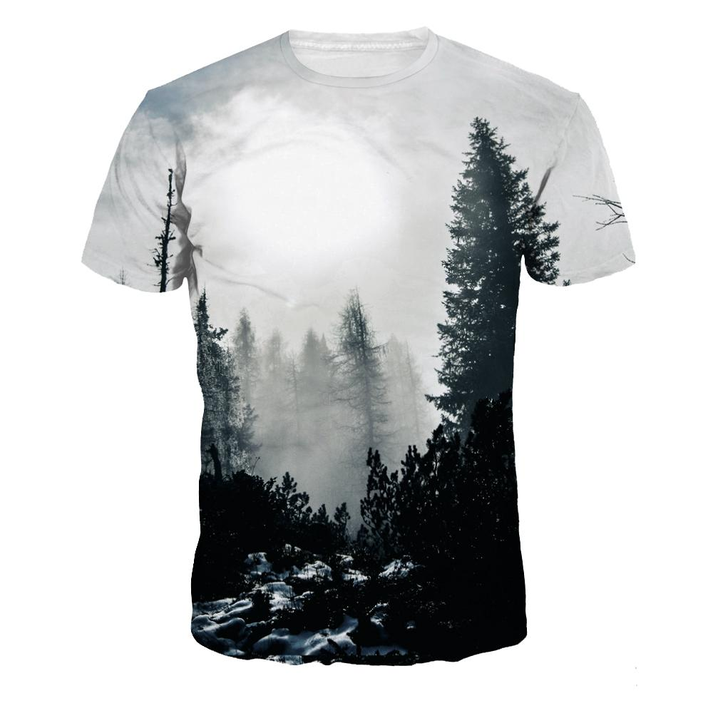 Stylish Womens Mens T Shirt Forest Tree 3D T Shirts Print Graphic Tee Round  Neck Casual Short Sleeve Tops T Shirts Best Best Funny Shirts From ... c0c22b5017e9