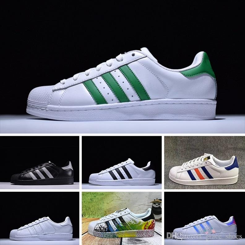 2016 Adidas Superstar 80s sneakers NEW Originals Sup Blanc Hologramme Iridescent Junior Sup 80s Fierté Sne Super Star Femmes Hommes Sport casual