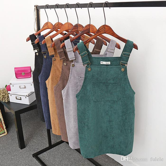 17fb5cd309 Corduroy Overall Dress With Pocket Spaghetti Strap Shift Dress 2018 Spring  And Autumn Ladies Sleeveless Short Dress Halter Dress Blue Dresses From  Fulele