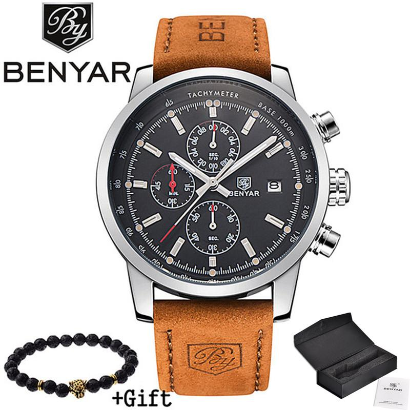 Compre 2018 BENYAR Relojes Hombres De Lujo Marca De Cuarzo Reloj De Moda  Cronógrafo Deporte Reloj Hombre Reloj Hora Masculina Relogio Masculino A   49.62 Del ... 1e77f5af513a