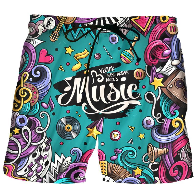 44fd9cdc86 LizhiYang 2018 New fashion Summer Men Beach Shorts 3D Print Colorful music Funny  Men's Bermuda Boardshorts Trousers hot style