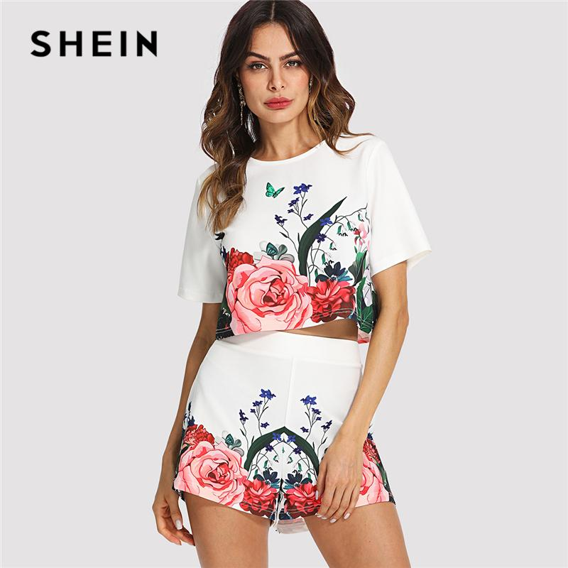 a25ec6b7eccb 2019 20187 SHEIN Multicolor Elegant Floral Round Neck Short Sleeve Button  Crop Top And Shorts Set Summer Women Weekend Casual Twopiece From Huang03,  ...