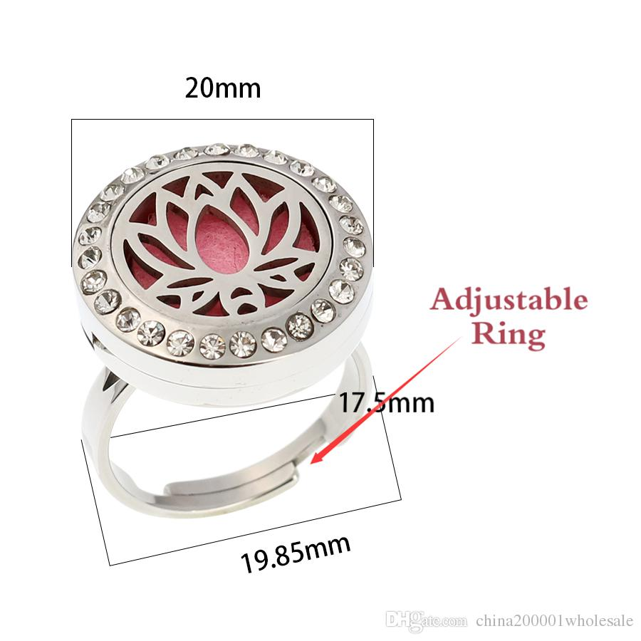 2018 Just Breathe Essential Oil Diffuser Perfume Locket Ring Round Aromatherapy Ring for Women&Men 20mm Magnetic Locket