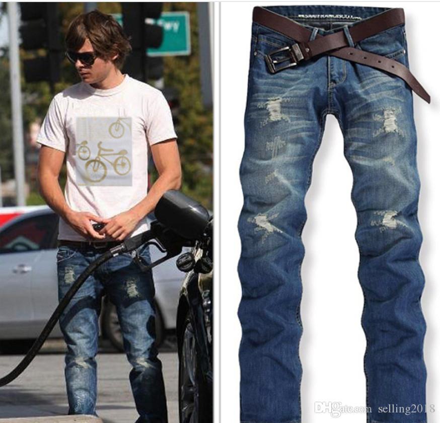 Compre Marca De Moda Para Hombre Jeans De Alta Calidad Azul Color Negro Recta Jeans Rotos Para Hombres Pantalones De Mezclilla De Moda Boton Pantalones De Mosca A 19 24 Del Selling2018