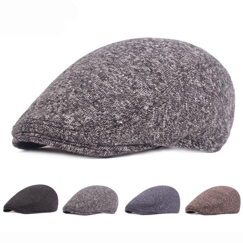 23f8490c78ec3 HT2052 Autumn Winter Hat for Men Warm Thick Beret Cap Elder Man Ivy ...
