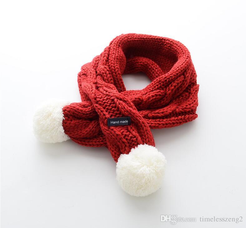 Nouveaux enfants chauds écharpe couleur pure en tricot écharpes garçon et fille confortable laine fil foulard multicolor livraison gratuite
