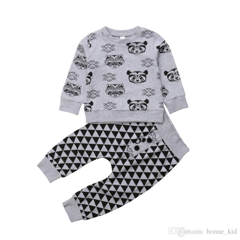 104631e7e 2019 Kids Boys Long Sleeve Tiger Top Geometric Pants Set Outfits Animal Gray  Casual Baby Boy Clothes Children Toddler Kid Clothing 0 24M From Bonne_kid,  ...