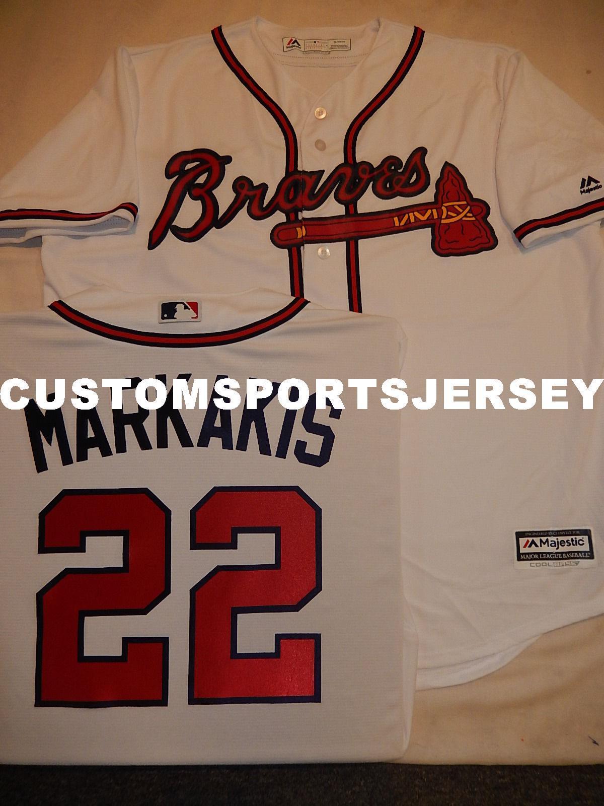 22e0e9fc8 Cheap Custom NICK MARKAKIS Baseball Cool Base JERSEY Stitched ...