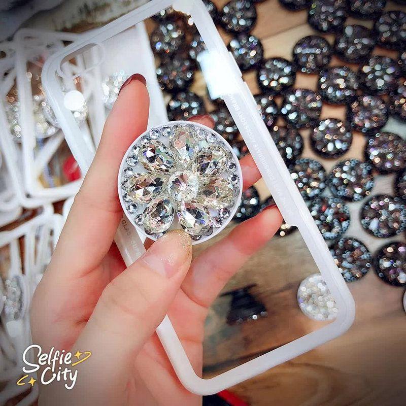 58ef2f02308b Fashion Shining Diamond Kickstand Transparent Tempered Glass Phone ...
