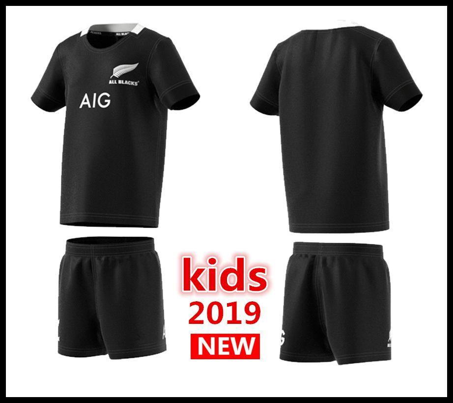 2c42e6ba4 2019 New Zealand All Blacks Kids Mini Kit Home Rugby Jerseys Super ...