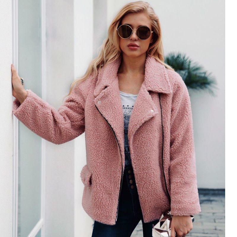 ec194954e ZADORIN 2018 New Faux Lambs Wool Bomber Jacket Plus Size Women Coat Women  Teddy Bear Jacket Pink Black Autumn Streetwear Coats