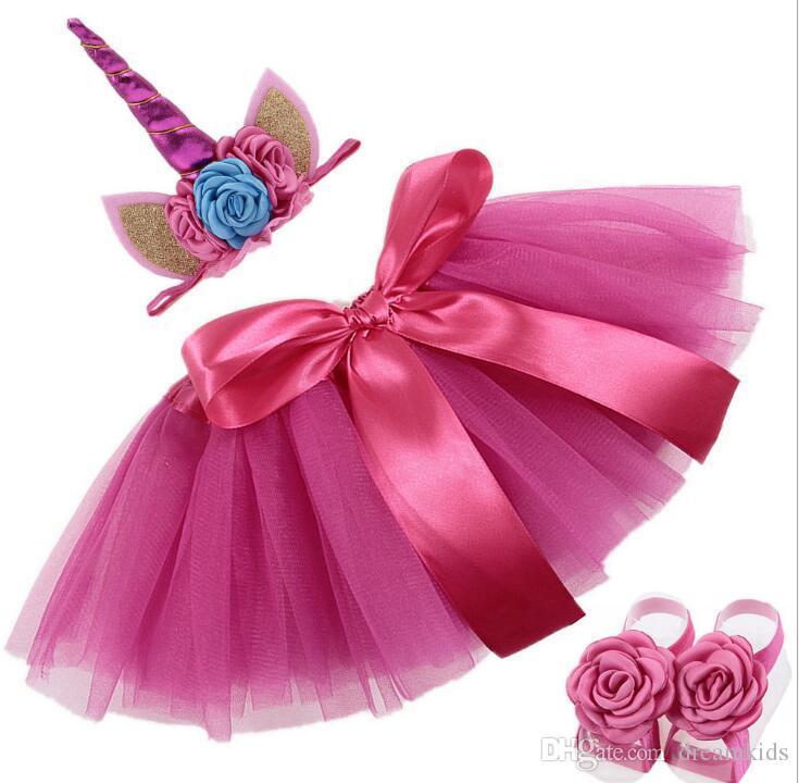 3 ADET set Yenidoğan Bebek Kız Unicorn Romper Tulum Fırfır Tutu Elbise Kafa Ayakkabı Bebek Bebek 1st Doğum Günü Giyim Kıyafet Set