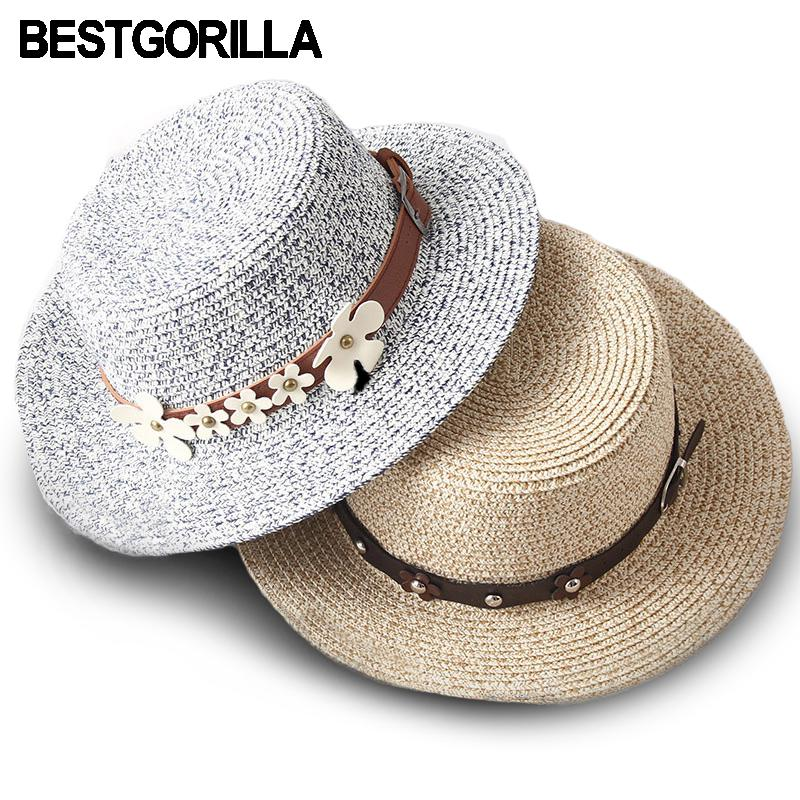 7643d1bb124 2017 New Woman Sun Hats British Style Flat Top Hand Made Straw Hat Female  Fashion Leather Belt Casual Shade Summer Beach Cap Trilby Stetson Hats From  ...
