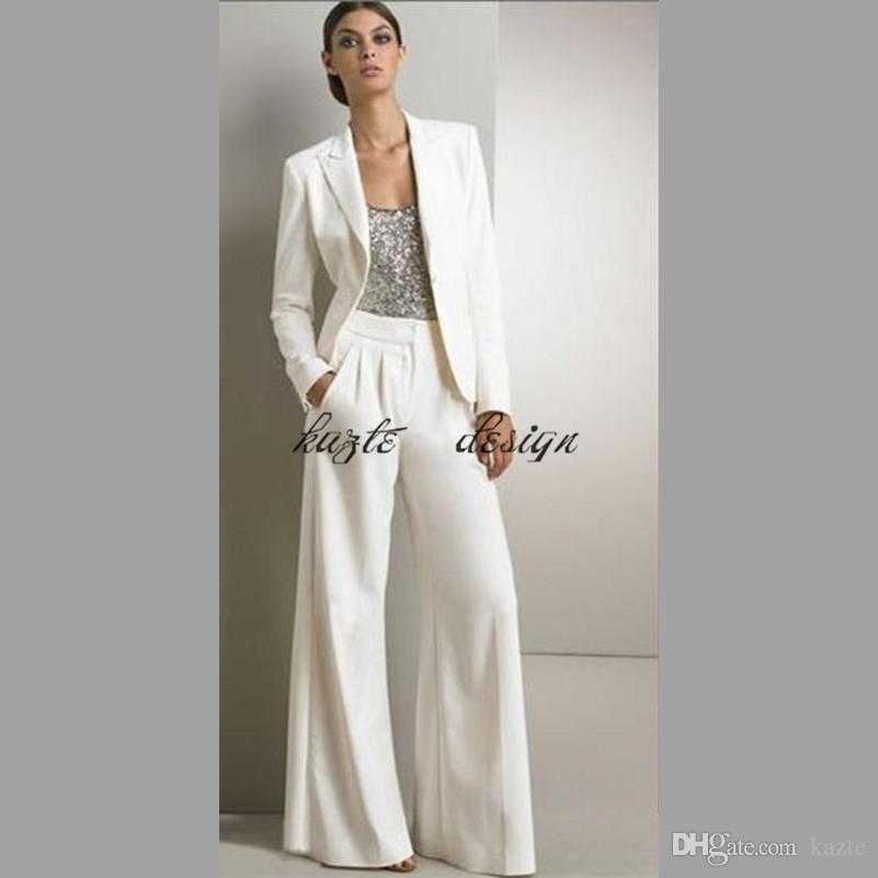 2018 Beyaz Üç Adet Anne Gelin Damat Pant gümüş Pullu Düğün Konuk Için Suits Elbise Artı Boyutu pantsuit Ceketler Ile set