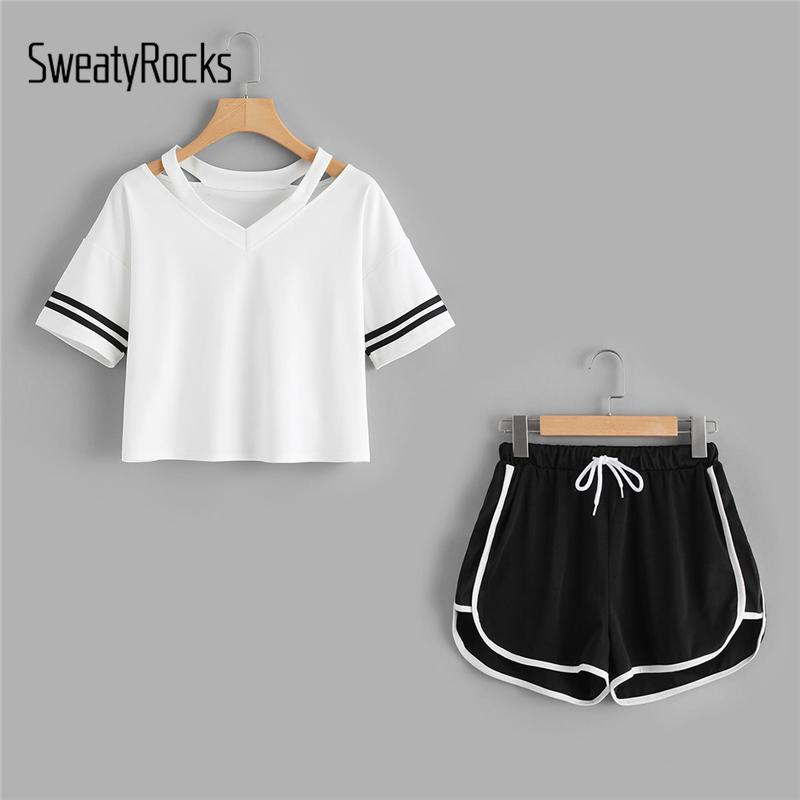 45960ea0015 2019 SweatyRocks Stripe Sleeve Top & Drawstring Contrast Trim Shorts Summer  Stretchy Sporting Women V Neck Casual Clothing D1892502 From Shen06, ...