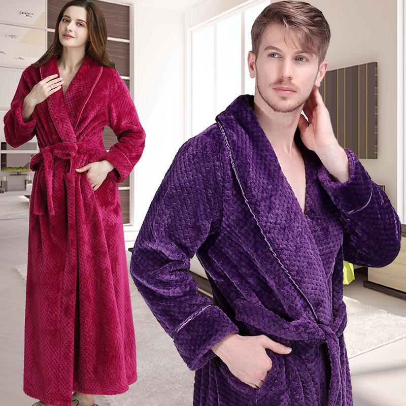 2018 Men Winter Extra Long Thick Warm Grid Flannel Bathrobe Mens ...