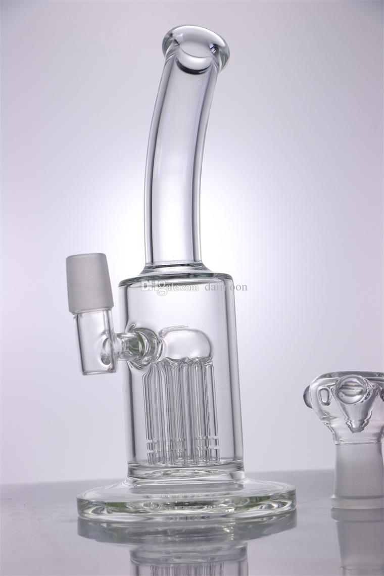 New design 8 inches Glass Bong with 8 arms glass piece 19mm male joint size for Glass Pipe water smoking bong