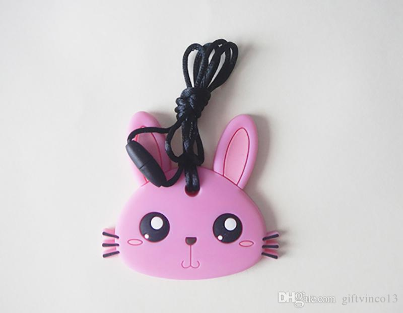 Cute Bunny Shape Pendant Necklace Silicone Teethers Colorful Rabbit Teething Toy Baby Chew Nursing Necklace BPA Free Safe Pendant Teethers