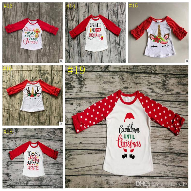 a32526d55c6 2019 Kids T Shirts Christmas Unicorn Print Clothing Baby Girls Ruffled  Raglan Tops Shirt Elephant Printed Tees Winter Designer Clothes YL583 2  From ...