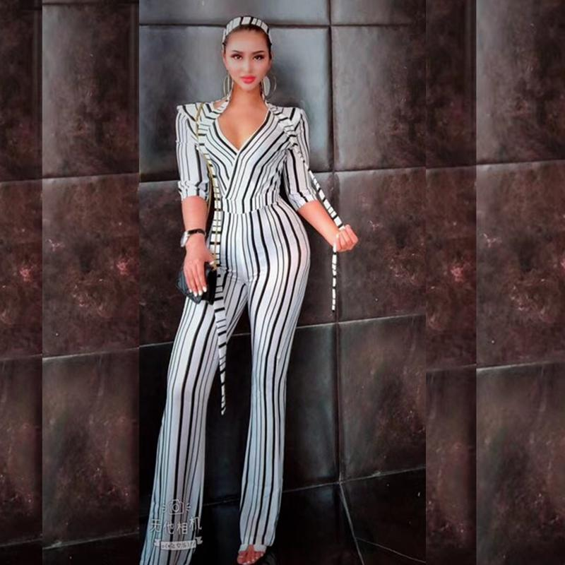 7ec08713334 2019 LATIBELL 2018 Fashion Black White Short Sleeve Jumpsuit Sexy V Neck  Sashes Striped Elegant Summer Special Casual Clubwear Festa From  Ferdinand07