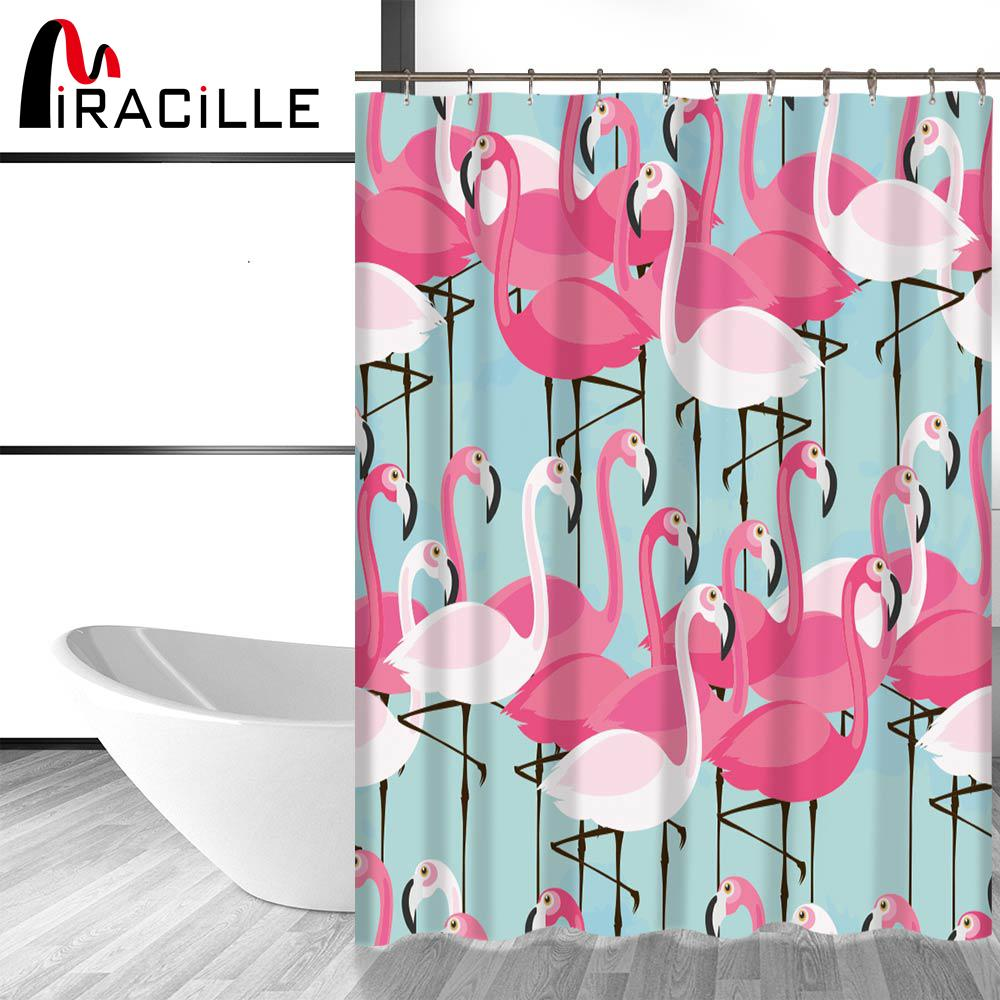 Miracille Pink Flamingo Modern Shower Curtain with Waterproof ...
