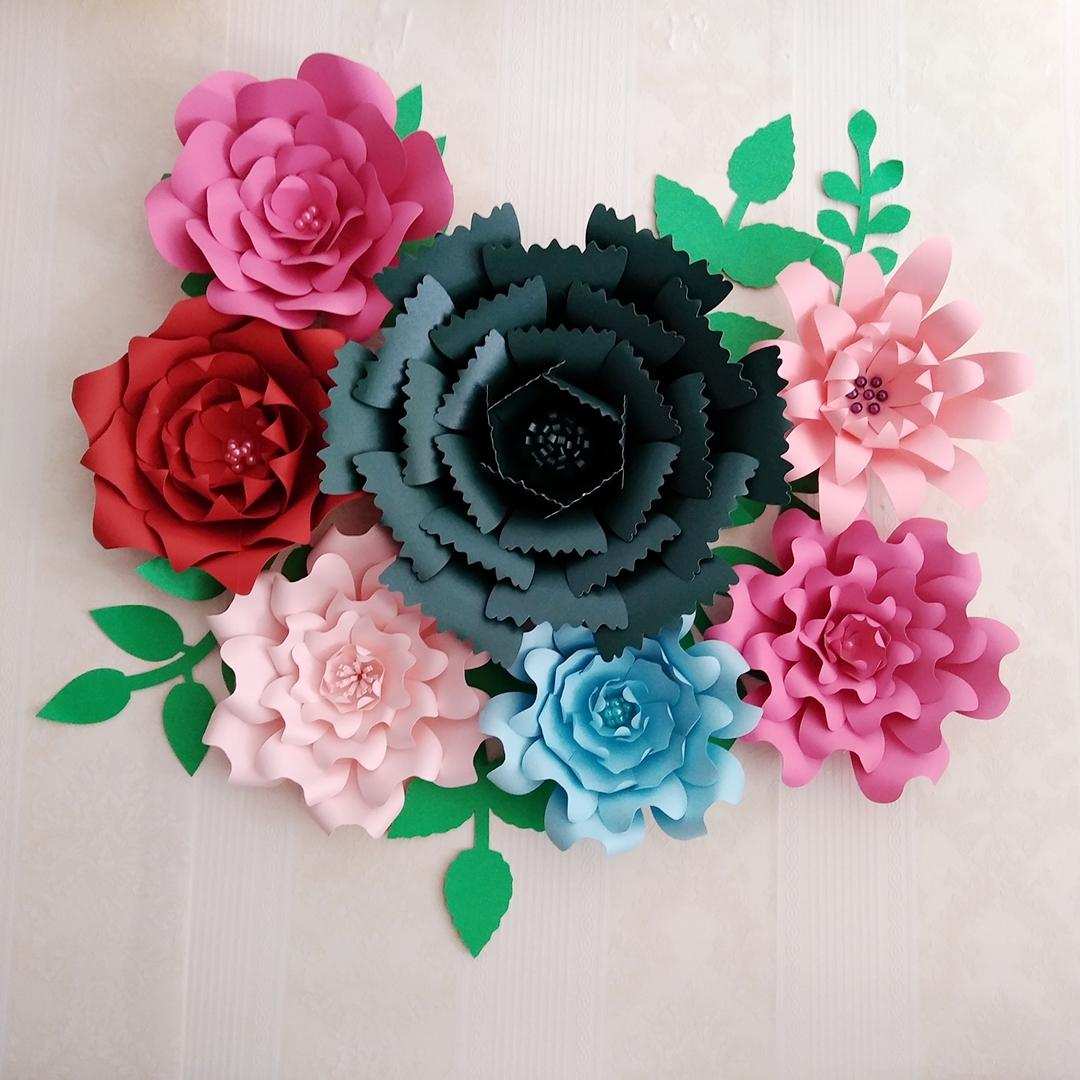 2018 Diy Half Made Flower Kits Giant Paper Flower With Leaves