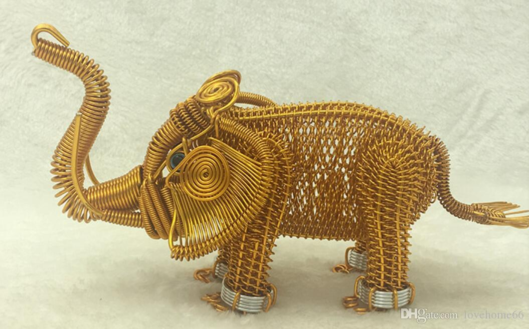 wholesale elephant model handcraft handwork metal animal model Strange new desktop decor Tableware 23*12cm