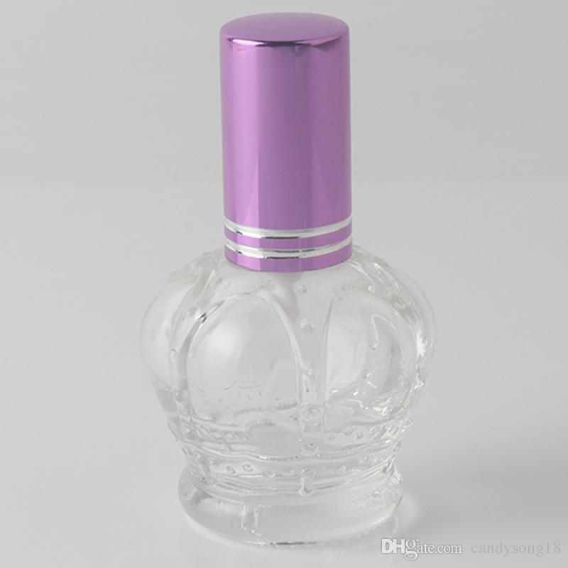 15 ML Hohe Qualität mischfarben Nachfüllbare Klarglas Spray Parfüm-flasche Leere Kaiserkrone Parfum Fall F483