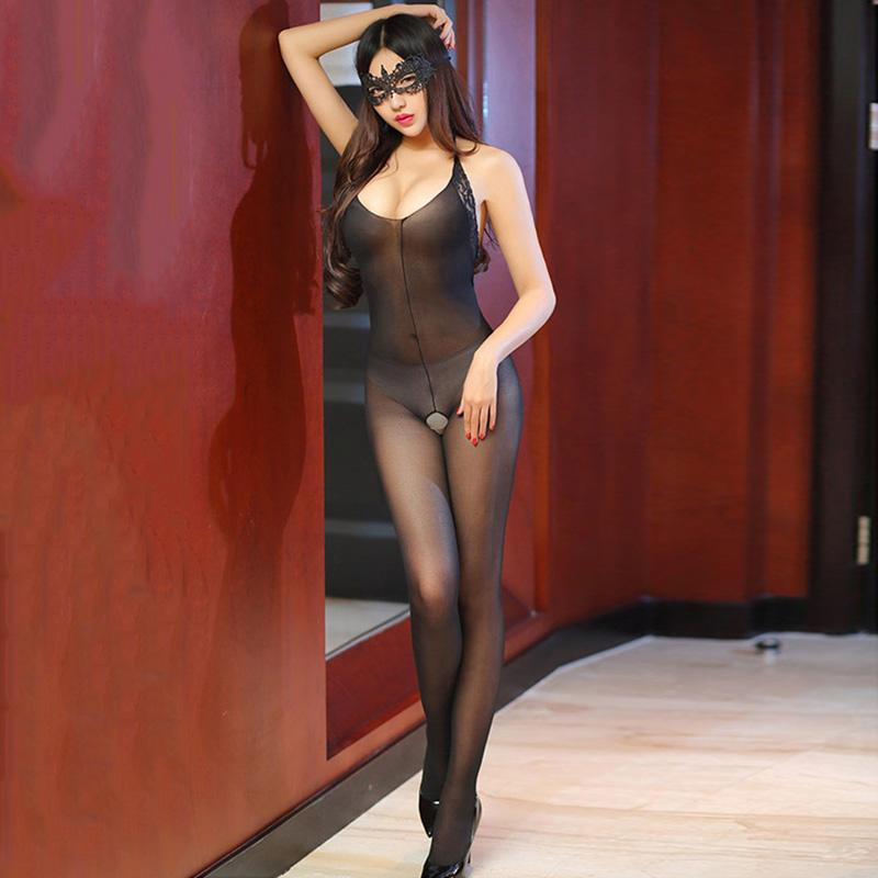 908a8f72cd6 2019 Hot Sale Open Crotch Thin Strap Black Bodystocking Women Shinny Glossy Lace  Sheer Tansparent Sexy Lingerie Sexy Intimates Tights From Sikaku