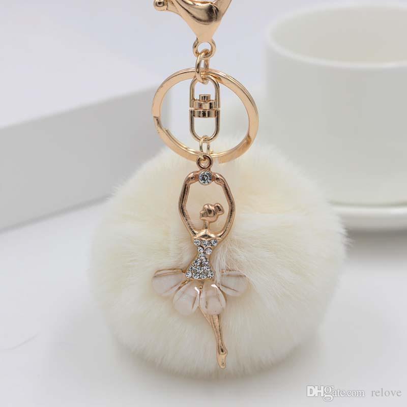 Fille Femmes Boule De Fourrure Strass Ballerine Porte-clés Ballet Danse Fille Sac À Main Accessoires De Voiture Porte-clés Pour Sac