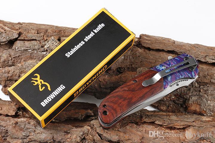 New DA138 Assistida rápido Abrir lâmina Folding faca 440C cetim Lâmina Madeira Handle Liner Lock Com Retail Box Original