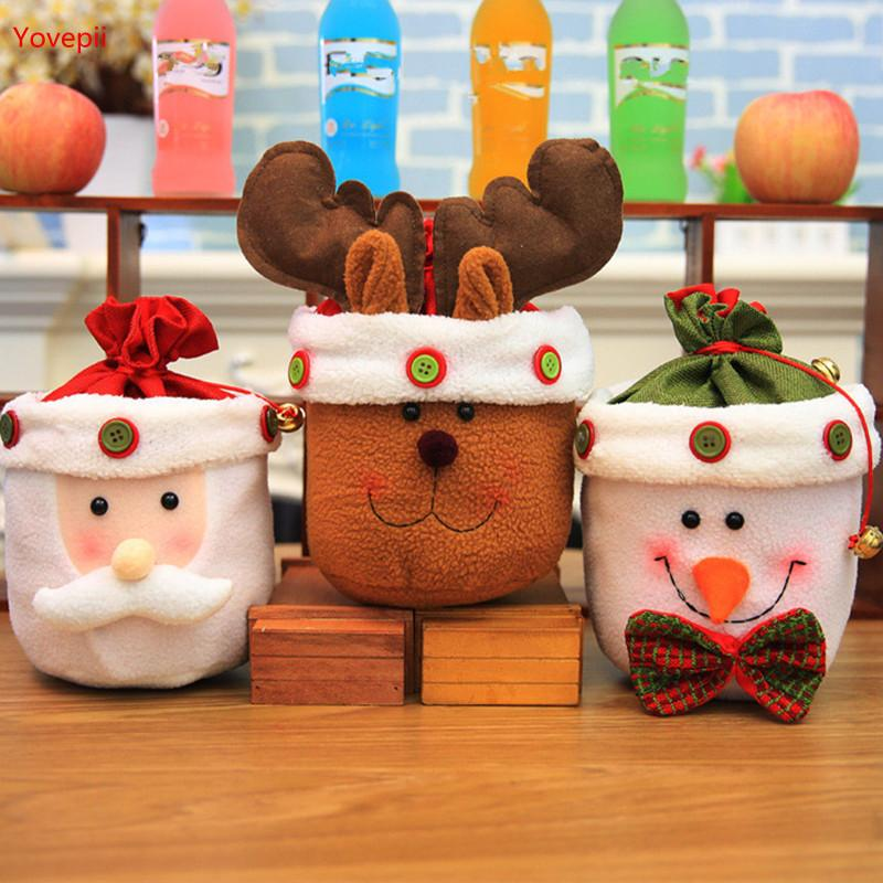 Candy Holder 10pcs/lot Christmas Gift bag 24*24cm kids candy bags with bell Santa Drawstring bag reindeer Fleece showcase decor