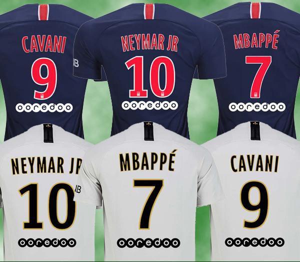 best service 61dd4 c9cce 2018/19 PSG jersey #7 MBAPPE away white Soccer Jersey #10 NEYMAR JR Soccer  Shirt 2019 #9 CAVANI #23 DRAXLER Club Team Football Uniform