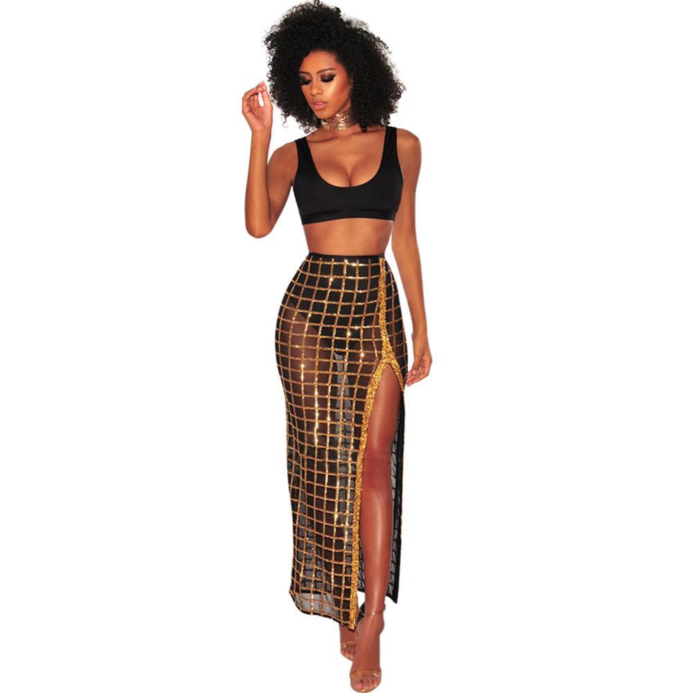 fa16184ac Conjunto de dos piezas de mujer sexy sujetador de cultivo Top de  lentejuelas de malla transparente Falda de cuadros falda de cintura alta  Conjunto de ...