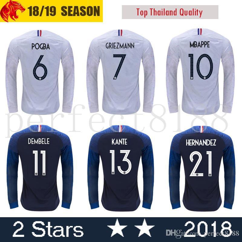 5b05b0cbb 2019 Long Sleeve French Soccer Jerseys 7 GRIEZMANN 6 POGBA 10 MBAPPE 11  DEMBELE KANTE UMTITI Customize Blue White Football Shirt 2 Stars From  Perfect8188