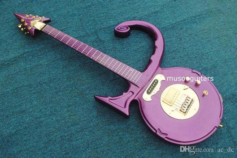 Rare Shaped Guitar Metallic Purple Prince Love Symbol Electric