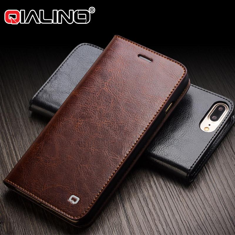 save off 831c9 a5852 Qialino Card Slot Holder Flip Case For Iphone 8 7 6 Plus Vintage Calf  Genuine Leather Back Cover For Iphone 6s 7 5 5s Se Wallet