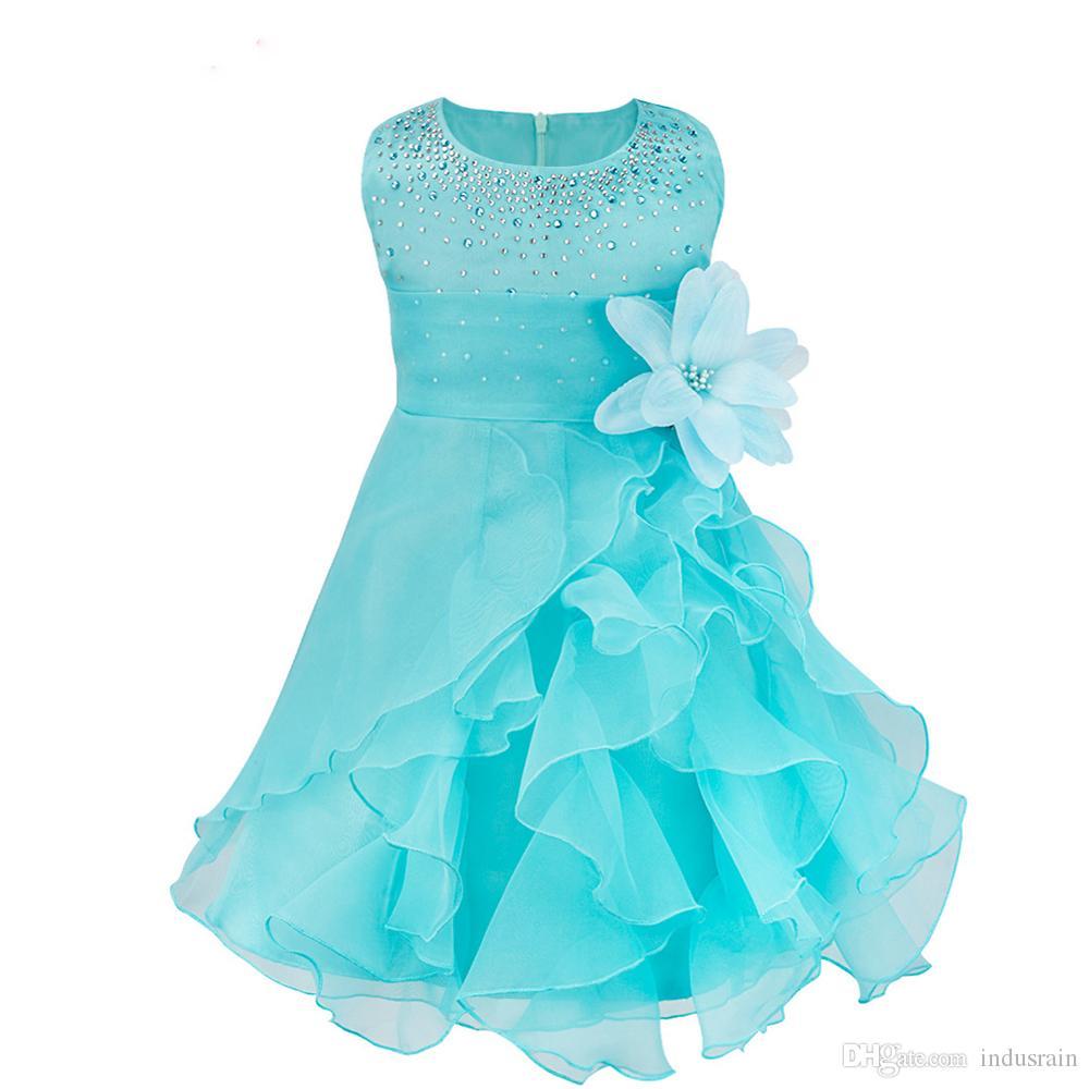 meilleur service 2b339 1e7fc 8 couleurs Infantil bébé filles robe de mariée baptême robe de baptême  baptême avec perles enfant en bas âge enfants princesse vêtements de fête