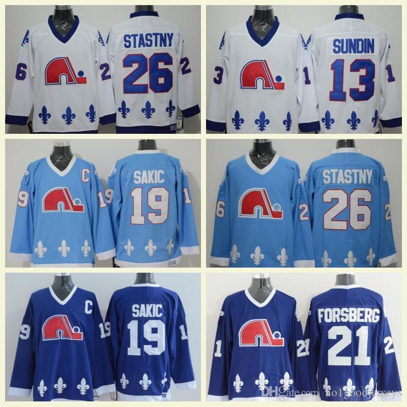 ... czech 2018 quebec nordiques hockey jerseys 19 joe sakic 21 peter  forsberg 13 mats sundin 26 f4b1d471b