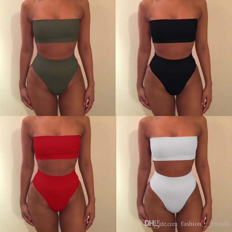 Hot Bikini Women Strapless Bandeau Sale Biquinis Feminino High 2018 Suit Up Sexy Size Plus Push Solid Swimwear Bathing Beach Waist Swim Wear dCrBoxe