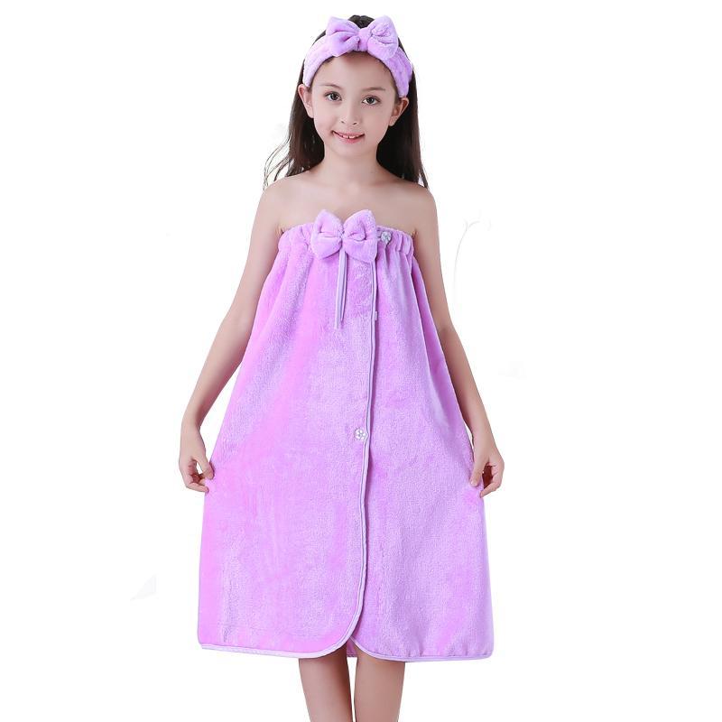 2018 New Winter Children\'S Towel Flannel Dress Girl Sweet Cute Bow ...
